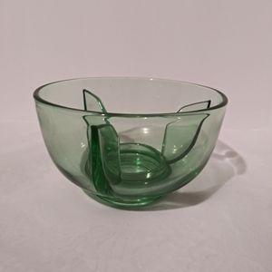Vintage green glass candle holder